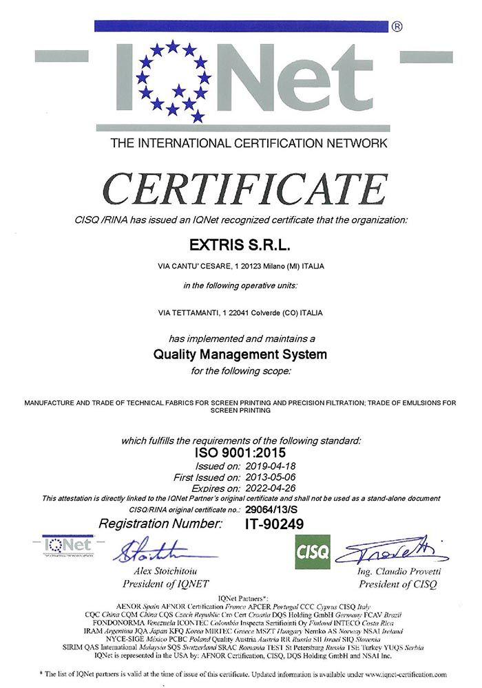 CERTIFICAZIONE ISO9001 IQNET