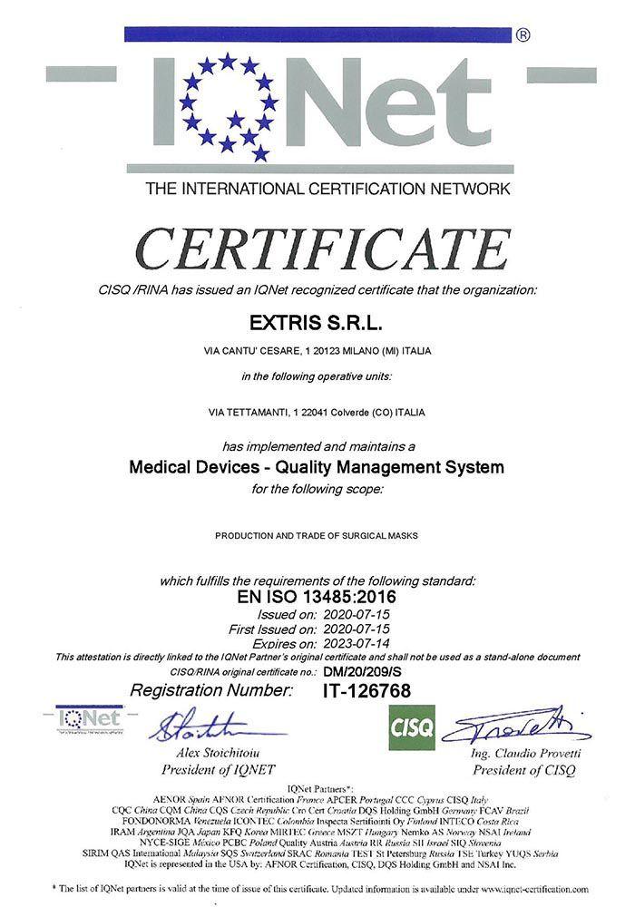 Certifcazione ISO13485 IQNET