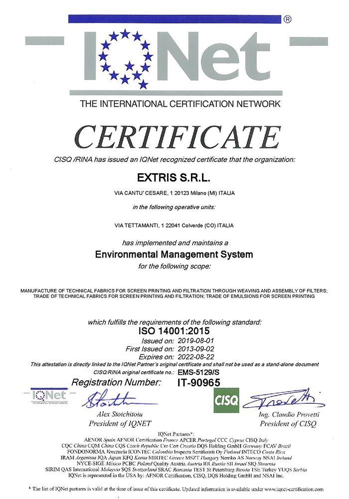 Certificazione ISO14001 IQNET